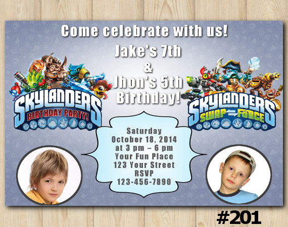 Twin Skylanders Invitation with Photo | Personalized Digital Card