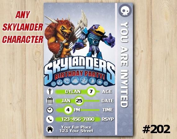 Skylanders Trap Team Game Card Invitation | Wolfgang, JetVac | Personalized Digital Card