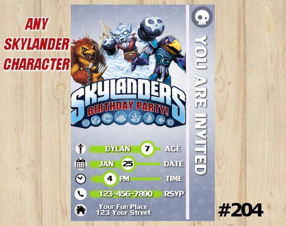 Skylanders Trap Team Game Card Invitation | Wolfgang, NightShift, JetVac | Personalized Digital Card