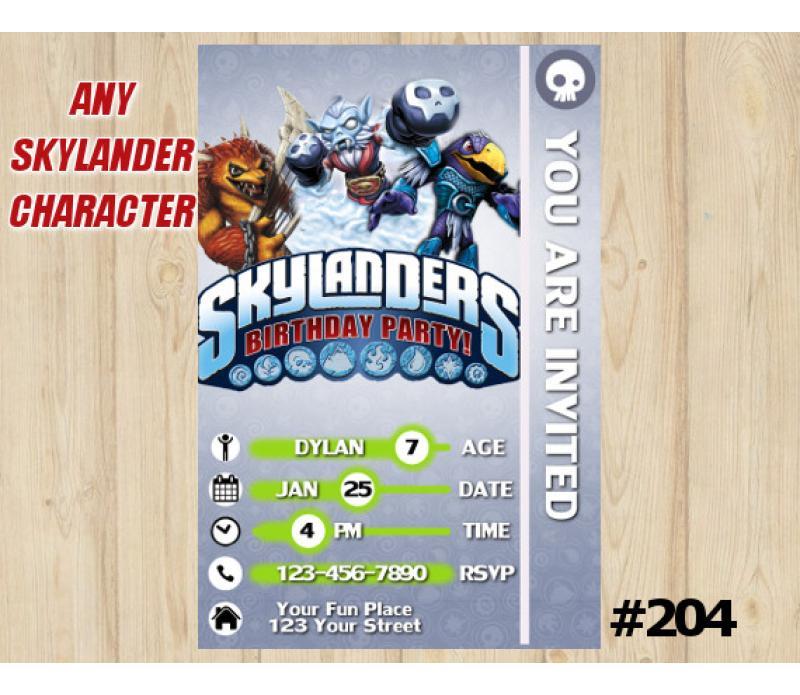 Skylanders Invite Digital Skylander Theme Printable Skylander Party Sklanders Birthday Invitation