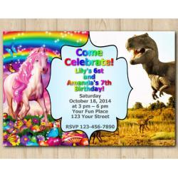 Twin Horse and Dinosaur Invitation