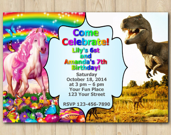 Twin Horse and Dinosaur Invitation | Personalized Digital Card