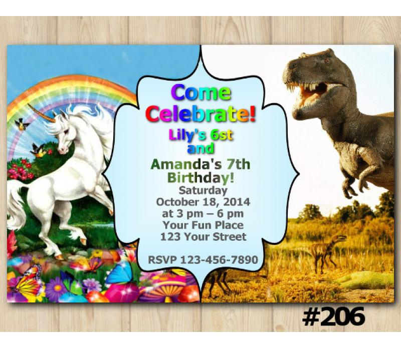 Twin Unicorn and Dinosaur Birthday Invitation Joint Twin Invitation