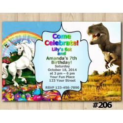 Twin Unicorn and Dinosaur Invitation