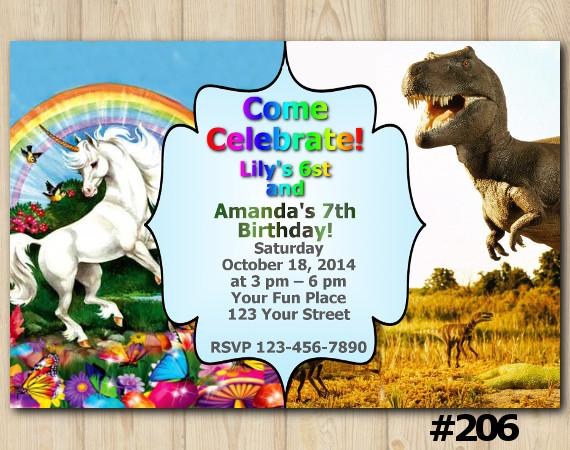 Twin Unicorn and Dinosaur Invitation   Personalized Digital Card