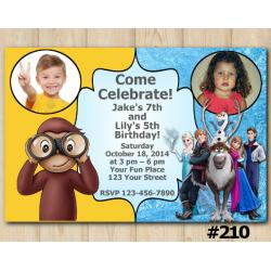 Twin Frozen and Curious George Invitation with Photo