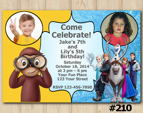 Twin Frozen and Curious George Invitation with Photo | Personalized Digital Card