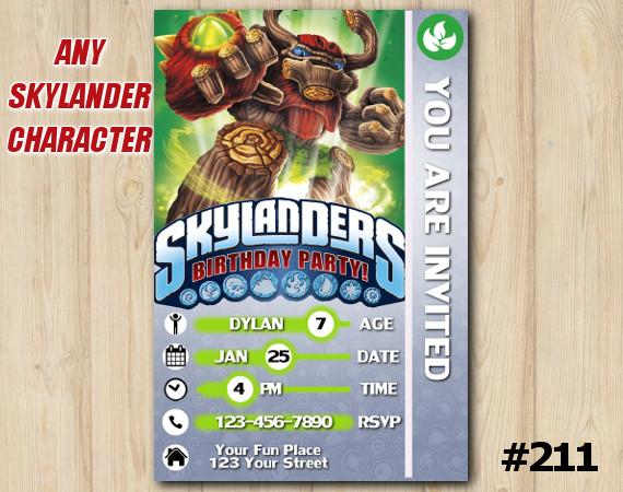 Skylanders Trap Team Game Card Invitation | TreeRex | Personalized Digital Card