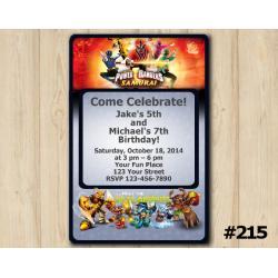 Twin Skylanders and Power Rangers Invitation