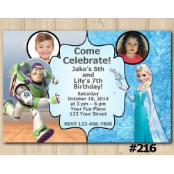 Twin Toy Storry and Frozen Invitation with Photo