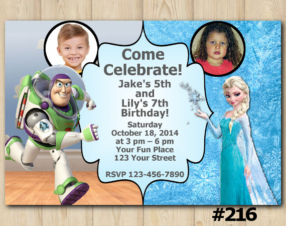 Twin Toy Storry And Frozen Invitation With Photo Personalized Digital Card