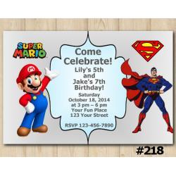 Twin Super Mario and Spiderman Invitation