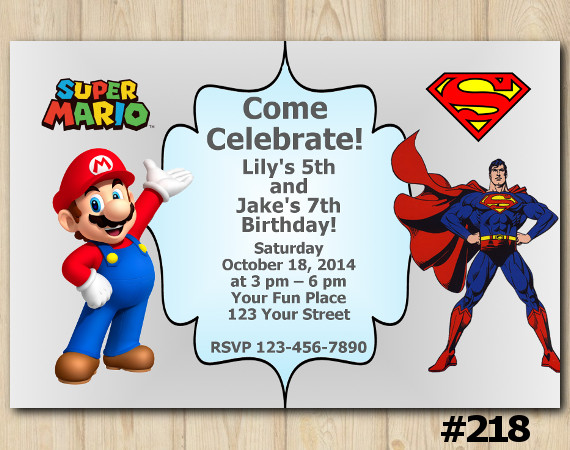 Twin Super Mario and Spiderman Invitation   Personalized Digital Card