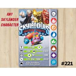 Skylanders Game Card Invitation | Kaos, Wildfire, PainYatta
