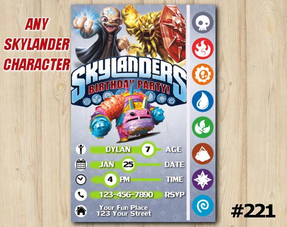 Skylanders Game Card Invitation   Kaos, Wildfire, PainYatta   Personalized Digital Card