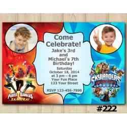 Twin Skylanders and Power Rangers Invitation with Photo