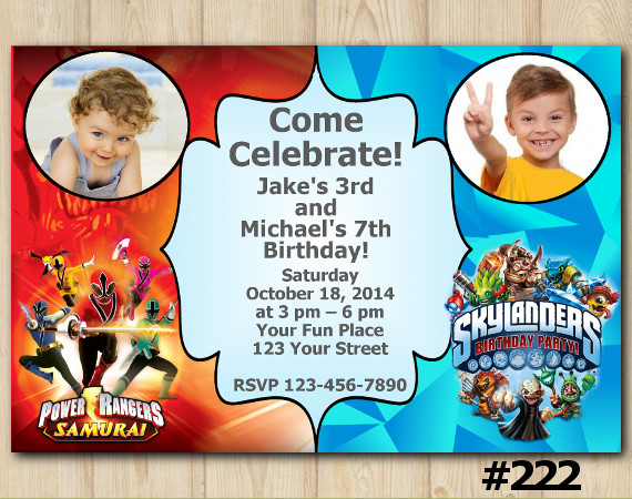 Twin Skylanders and Power Rangers Invitation with Photo | Personalized Digital Card
