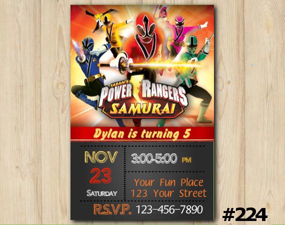 Power Ranger Samurai Invitation | Personalized Digital Card