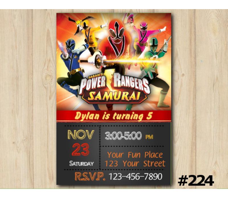 Power Rangers Samurai Birthday Invitation Power Rangers Invitation