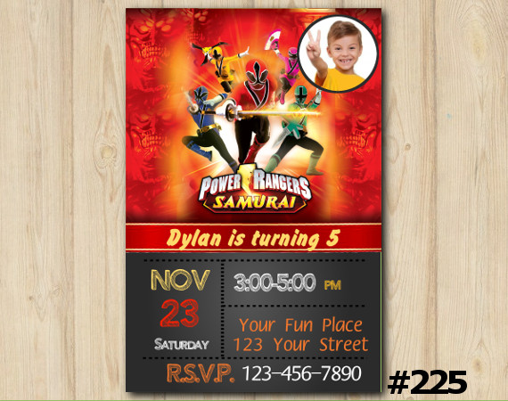 Power Ranger Samurai Invitation with Photo | Personalized Digital Card