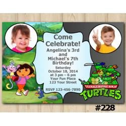 Twin Dora the Explorer and TMNT Invitation with Photo
