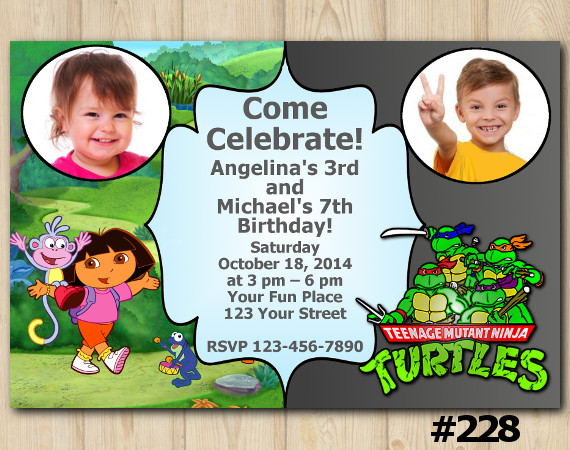Twin Dora the Explorer and TMNT Invitation with Photo | Personalized Digital Card