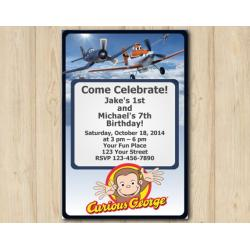 Twin Disney Planes and Curious GeorgeInvitation Invitation