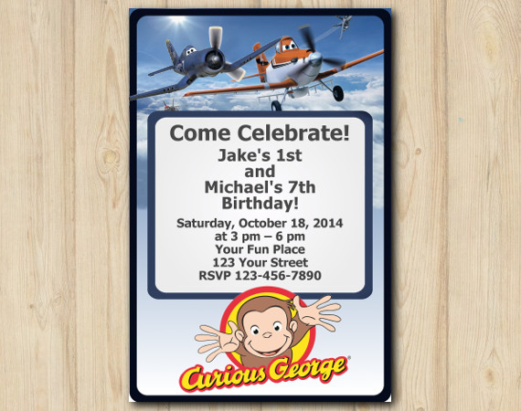 Twin Disney Planes and Curious GeorgeInvitation Invitation | Personalized Digital Card