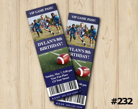 Football Ticket Invitation with Photo | Personalized Digital Card