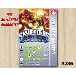 Skylanders Trap Team Game Card Invitation | Wildfire, KaBoom