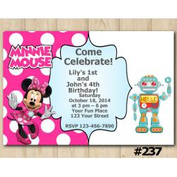 Twin Minnie Mouse and Robot Invitation