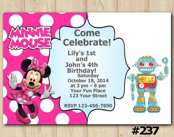 Twin Minnie Mouse and Robot Invitation   Personalized Digital Card