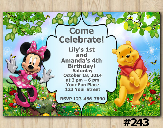 Twin Minnie Mouse and Winnie the Pooh Invitation | Personalized Digital Card