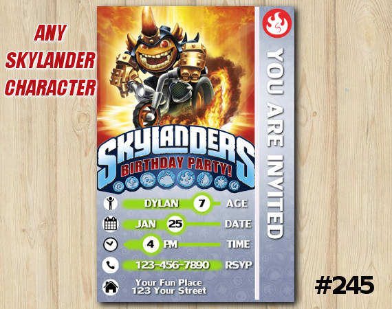 Skylanders Trap Team Game Card Invitation | HogWildFryno | Personalized Digital Card
