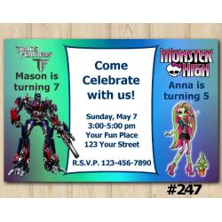 Twin Transformers and Monster High Invitation