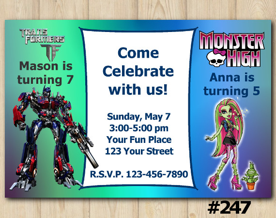 Twin Transformers and Monster High Invitation | Personalized Digital Card