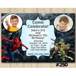 Twin Spiderman and TMNT Invitation with Photo