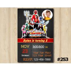 Power Ranger Megaforce Invitation with Photo