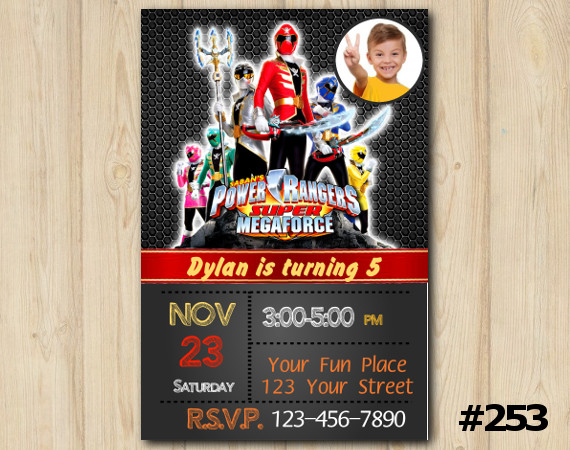 Power Ranger Megaforce Invitation with Photo | Personalized Digital Card