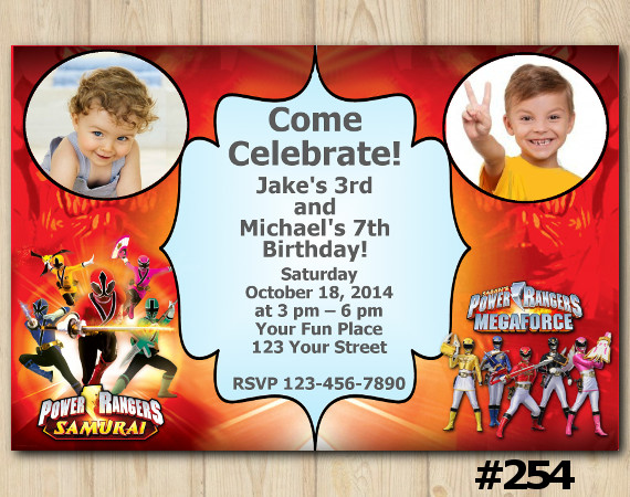 Twin Power Rangers Invitation with Photo | Personalized Digital Card