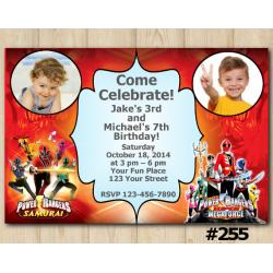 Twin Power Rangers Invitation with Photo