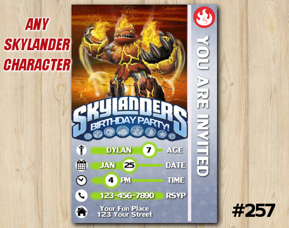 Skylanders Hot Head Game Card Invitation | HotHead | Personalized Digital Card