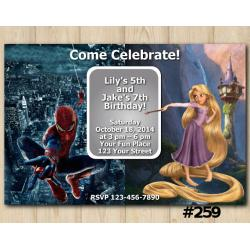 Twin Disney Princess Rapunzel and Spiderman Invitation