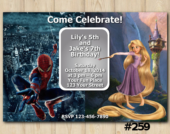Twin Disney Princess Rapunzel and Spiderman Invitation | Personalized Digital Card