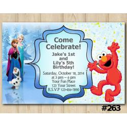 Twin Frozen and Elmo Invitation