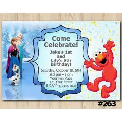 Twin Frozen and Elmo Invitation
