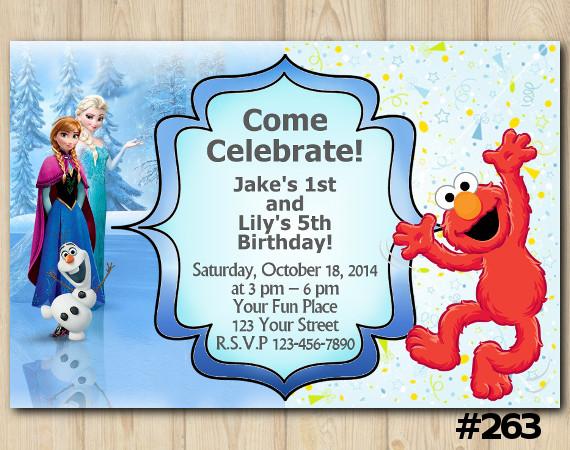Twin Frozen and Elmo Invitation   Personalized Digital Card