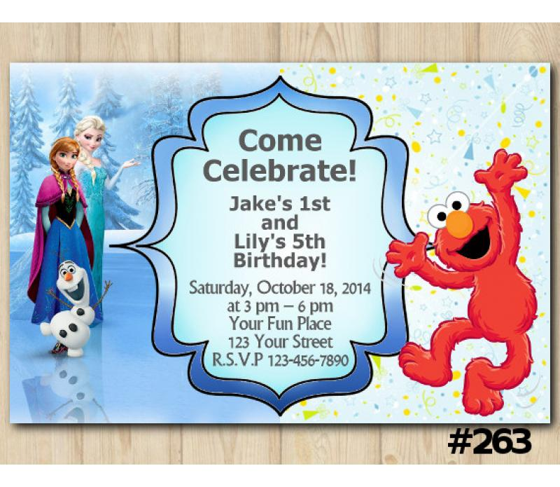 Twin Frozen And Sesame Street Birthday Invitation Joint Twin