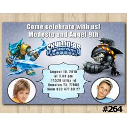 Twin Skylanders Invitation with Photo | Snapshot, Terrafin
