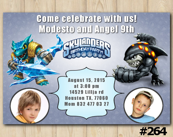Twin Skylanders Invitation with Photo | Snapshot, Terrafin | Personalized Digital Card